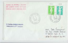 1993 Ebveloppe Cachet Captaine J.M.MONBELLI-VALLOIRE 403°LOGISTIC SERVICE BARRALION PROTECTION COMPANY  COMMANDING -e777 - Poststempel (Briefe)