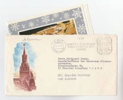1975 RUSSIA NEW YEAR COVER Illus CLOCK  With NEW YEAR GREETING CARD To GERMANY , Meter Stamps - Clocks