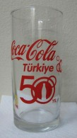 AC - COCA COLA - 50th YEAR IN TURKEY ILLUSRATED GLASS FROM TURKEY - Tazas & Vasos