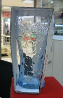 AC - COCA COLA 50TH YEAR IN TURKEY BUBLE FIGURED BLUE GLASS FROM TURKEY - Mugs & Glasses