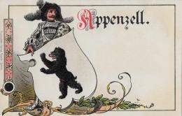 APPENZELL → Ritter Mit Banner, Schöne Lithokarte Ca.1900 - AI Appenzell Innerrhoden