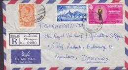 Thailand Air Mail Par Avion Registered Einschreiben Label CHIENGMAI 1964 Cover Brief Denmark (2 Scans) - Tailandia