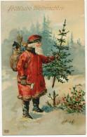 Santa Claus Frohliche Weihnachten Pere Noel Coupant Un Sapin - Santa Claus