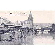 VCYTPA3866-LFTD8091.Tarjeta Postal De Vizcaya.Edificios,casas,puente,iglesian,barcos,RIA DE BILBAO Y MERCADO DE SAN ANTO - Vizcaya (Bilbao)