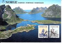Carte Maximum Card 1985 Norway Norge Ship Landscape Mi 891 - 892 #20017 - Cartes-maximum (CM)