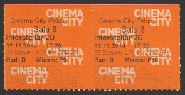 Slovakia, Bratislava, Entry Ticket For Movie Theater, Interstellar, Pair - Tickets - Vouchers