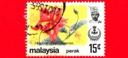 MALESIA - MALAYSIA - Usato - 1979 - Fiori - Flowers - Hibiscus Rosa Sinensis - Perak - 15 C - Malesia (1964-...)