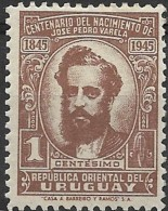 URUGUAY 1945 Birth Centenary Of Jose Pedro Varela (writer) - 1c Varela MH - Uruguay