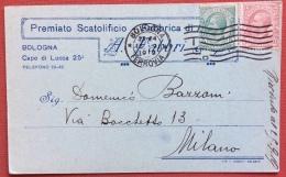 BOLOGNA 1919 CARTOLINA PUBBLICITARIA SCATOLIFICIO A.FABBRI CON FIRMA AUTOGRAFA - TESTATA LIBERTY - Werbepostkarten