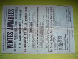 Affiche Vente Aux Enchères 1933 La Basse Goubinière, Chassé De Récoltes, Matériel Agricole, Chevaux, Bestiaux Et Porcs - Affiches