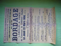 Affiche Vente Aux Enchères 1956 à Chenay Sarthe, Bordage Labour Et Prés, Maison - Plakate