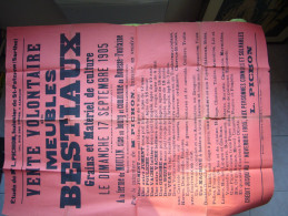 Affiche Vente Aux Enchères 1905 à Rouessé Fontaine Sarthe, Bestiaux Grains Et Matériel De Culture - Affiches