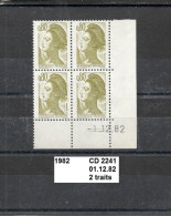 CD4 De 1982 Neuf** Y&T N° 2241 2 Traits Daté 01.12.82 - Esquina Con Fecha