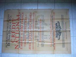 Grande Affiche Obligations De 500 Francs Du Crédit National 1924 Avec Autorisation Du Ministère Des Finances - Afiches