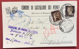 COMUNE CASTIGLIONE DEI PEPOLI  1934 CARTOLINA PUBBLICITARIA CON STEMMI E FORMA AUTOGRAFA DEL PODESTA' - Werbepostkarten