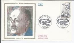 FRANCE - ENVELOPPE PREMIER JOUR JEAN MONNET CARREFOUR EUROPEEN CAD REIMS DU 23/05/1988 - FDC