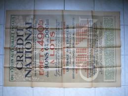 Belle Et Grande Affiche Bons De 500 Francs Du Crédit National 1923 Avec Autorisation Du Ministère Des Finances - Afiches