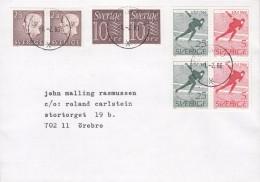 Sweden ÖREBRO 1980 Cover Brief Incl. 4x 3-Sided Pairs VM Iceskating Block - 1945-... Republik China