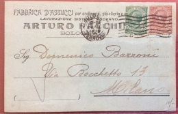 BOLOGNA 1919  CARTOLINA PUBBLICITARIA FABBRICA ASTUCCI  OREFICERIE GIOIELLERIE DI ARTURO FACCHINI   -CARTOLINA AUTOGRAFA - Werbepostkarten