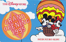 Télécarte Japon / 110-167707 - DISNEY STORE GO 1995 - MICKEY MINNIE MONTGOLFIERE Balloon Japan Phonecard / 5000 EX - Disney