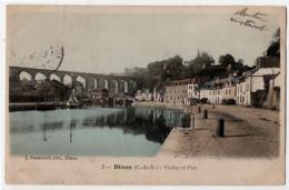 Dinan Côtes Nord Viaduc Et Port 1908 état Superbe - Dinan