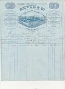 """FACTURE ILLUSTREE """"BETTS &Co -USINE A FLOIRAC PRES DE BORDEAUX -ANNEE 1876 - 1800 – 1899"""