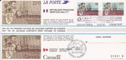 ANNIVERSAIRE VOYAGE JACQUES CARTIER AU CANADA 2003   CARTE POSTALE OBLITEREE - Storia Postale