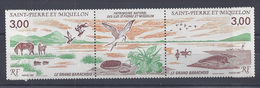 SPM - 1987 -  TRIPTYQUE AVEC VIGNETTE CENTRALE N° 485 A - XX - MNH - TB - - St.Pierre & Miquelon