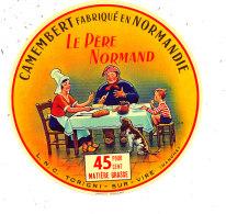M 876 /  ETIQUETTE DE FROMAGE CAMEMBERT   LE PERE NORMAND  L. N. C. TORIGNI-SUR-VIRE  (MANCHE) - Fromage