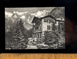 COURMAYEUR : Il Municipio & Ghiacciai Catena Monte Bianco 1962 / Fiat 600 / Chaine Du Mont Blanc - Italia