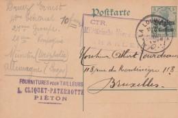 PIETON ,carte Publicité, L.CLIQUET-PATERNOTTE ,fourniture Pour Tailleur ,guerre 1914-1918 (entier Postal),censure - Chapelle-lez-Herlaimont