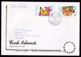 Cook Islands: Circulated FDC First Day Cover To Netherlands, 1998, 2 Stamps, Butterflies, Rare Real Use (traces Of Use) - Cookeilanden