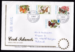 Cook Islands: Circulated FDC First Day Cover To Netherlands, 1997, 4 Stamps, Butterflies, Rare Real Use (traces Of Use) - Cookeilanden