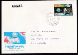 Penrhyn: FDC First Day Cover To Netherlands, 1994, 1 Stamp, Moon Landing, Astronaut, Space (traces Of Use) - Penrhyn