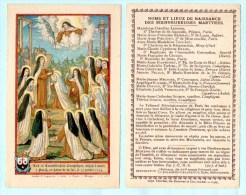 IMAGE Les 16 CARMELITES De COMPIEGNE Mise à Mort Le 17/07/1794 à PARIS Au Verso NOMS Et LIEUX De NAISSANCE Des MARTYRES - Images Religieuses
