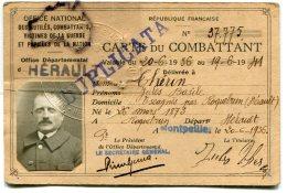 - Carte Du COMBATTANT - 1931, Hérault, Théron, Escagnes Par Roquebrune, 1936/41, BE,  Scans. - Documents