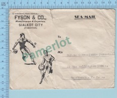 Pakistan  Sea Mail Post Mark 1948 - Stamp At Back, Commercial Envelope , Cover Sialkot To Sherbrooke Canada - 2 Scans - Pakistan
