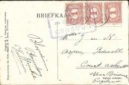 _6ik-990: Fantasiekaartje Met 3x N° 51: SLUISKILL 1916 + Censuur  ZEELAND > Engeland - 1891-1948 (Wilhelmine)