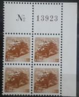Lebanon 2001 Mi. 1403C MNH 1100L Bright Variety Perf 11 - Corner Blk/4 With Plate Number - Lebanon