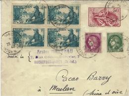 """1940- Env. E P  """" La Marseillaise """" Type W3 A - Affr. En Compl. Dont Bloc De 4 N° 452 De Rochefort Sur Mer - Marcofilia (sobres)"""