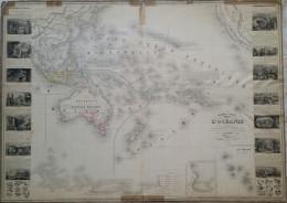 TABLEAU STATISTIQUE COMMERCIALE ET INDUSTRIELLE L´OCEANIE VERS 1855 - Geographical Maps