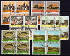 C0422 ZIMBABWE 1990, SG 786-91  10th Anniversary Of Independence,  Used Blocks Of 4 - Zimbabwe (1980-...)