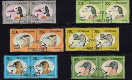 C0423 ZIMBABWE 1988, SG 740-5  Wild Ducks And Geese Of Zimbabwe, Used Pairs - Zimbabwe (1980-...)