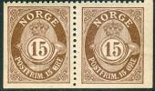 NOORWEGEN 1909 15öre Posthoorn Paar Uit Postzegelboekje  Onderzijde Ongetand PF-MNH-NEUF - Norway