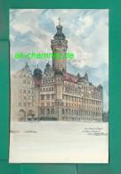 Alte Sachsen Künstler AK 04103 Leipzig 1906 !!!  Neues Rathaus V. D. Burgstraße - Leipzig