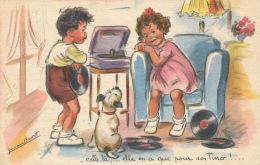 ENFANTS - DOG - Jolie Carte Fantaisie Enfants Chien Et Transistor écoutant TINO ROSSI Signée GERMAINE BOURET - Bouret, Germaine