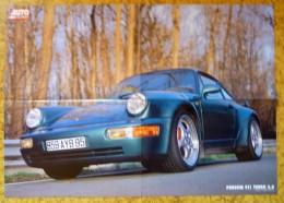 POSTER VOITURE AUTO HEBDO JAGUAR XJ 220 ET DOS PORSCHE 911 TURBO 3.6 59 X 42 Cm - Cars