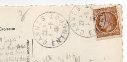Beau Cachet Manuel --CANNES-ENTREPOT--06--sur Carte Postale De CANNES--Cérès De Mazelin 2F50 - Marcofilie (Brieven)