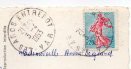 Beau Cachet Manuel --LES ARCS--ENTREPOT--83--sur Carte Postale De TOULON--tp Marianne - Marcophilie (Lettres)