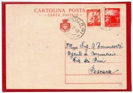 1949 - CARTOLINA POSTALE DEMOCRATICA LIRE 3 Con Stemma / FRANCOBOLLO AGGIUNTO / FRAZIONARIO BICCARI Foggia  -  C009 - 1946-60: Storia Postale